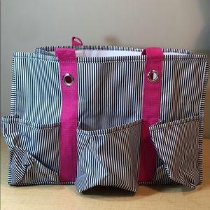 Thirty one stripe pocket utility storage tote bag